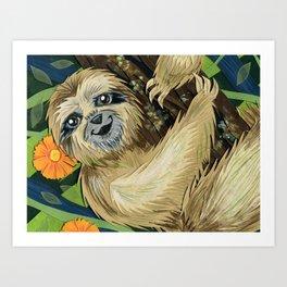 Three Toed Sloth Art Print