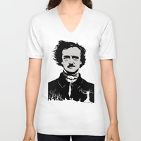 edgar allen poe V-neck T-shirts featuring POE by Eric Thorpe-Moscon Designs