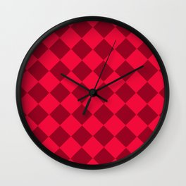 Plaid red tones . Cell . Wall Clock