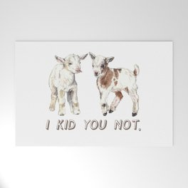 I Kid You Not: Baby Goat Watercolor Illustration Welcome Mat