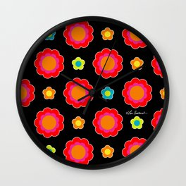 Colorful Flowers on Black Wall Clock