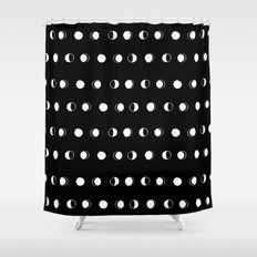 Linocut moon phase black and white minimal college dorm decor basic must haves Shower Curtain
