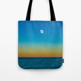 Moon Rising Over Chicago's North Shore Tote Bag