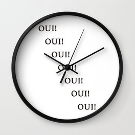 Oui Yes French Wall Art Print Black and White Design Home Decor Wall Clock