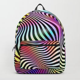 Holographic hypnotic pattern. Colorful iridescent effect. Backpack