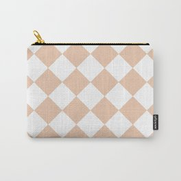 Large Diamonds - White and Desert Sand Orange Carry-All Pouch