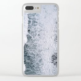 Aerial of a Black Sand Beach with Waves - Oceanscape Clear iPhone Case