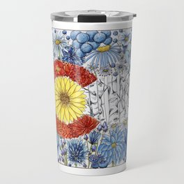 Colorado Flag with Flowers Travel Mug