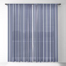 Classic White Baseball Stripe Lines On Blue Sheer Curtain