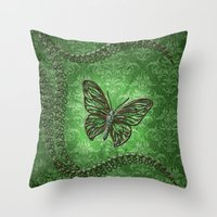 decorative Throw Pillows featuring Decorative butterfly by nicky2342