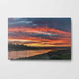 Red Cloud Sunset Over the Back Bay Metal Print