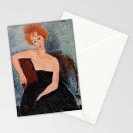 Redheaded Girl in Evening Dress by Amedeo Modigliani, 1918 Stationery Cards