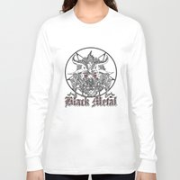baphomet Long Sleeve T-shirts featuring Black Metal Baphomet Pentagram  by Scott Jackson Monsterman Graphic