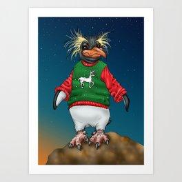 Rockhopper Penguin in Ugly Christmas Sweater Art Print