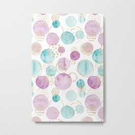 Watercolour Circles | Teal, Gold & Purple Palette Metal Print