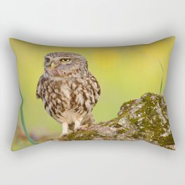 A little owl with a grasshopper. Rectangular Pillow