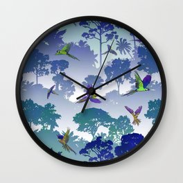 Macaw Canopy // Blue-Violet Wall Clock