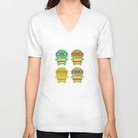 teenage mutant ninja turtles V-neck T-shirts featuring Teenage Mutant Ninja Kawaii Turtles by geraldbrio
