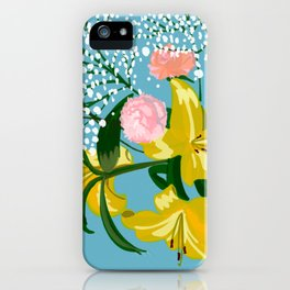 Flowers on Blue iPhone Case