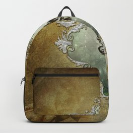 Wonderful tribal dragon on vintage background Backpack