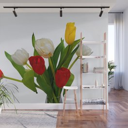 Bunch Of Colorful Tulip Flowers On White Wall Mural