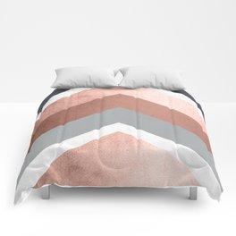 Grey, Bronze Chevron Home Decor Design Comforters