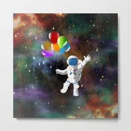 Astronaut with Balloons Metal Print