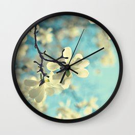 white magnolia Wall Clock