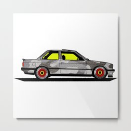 BMWM e30 MPower on BBS Metal Print