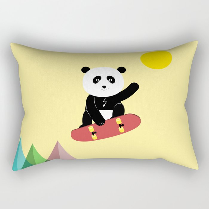 Panda on a skateboard Rectangular Pillow