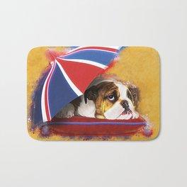 English Bulldog Puppy with umbrella Bath Mat