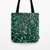 mermaids Tote Bags featuring Mermaids by hank