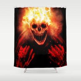 skull on fire Shower Curtain