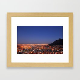 Cape Town at night, South Africa Framed Art Print