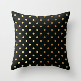 Gold polka dots on black pattern Throw Pillow