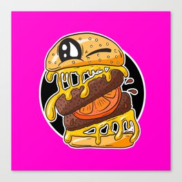Fast Food FRENZY - Cheezy Sally HOT PINK Canvas Print