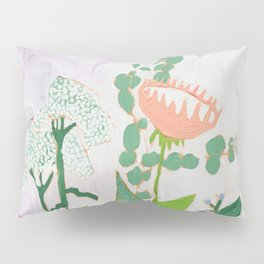 Multi Floral Painting on Pink and White Background Pillow Sham