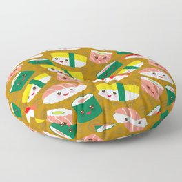 pattern Kawaii funny sushi set with pink cheeks and big eyes, emoji on brown mustard background Floor Pillow