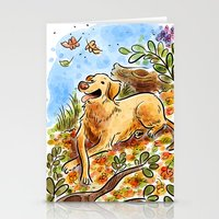 lab Stationery Cards featuring Golden Lab by Renee Kurilla