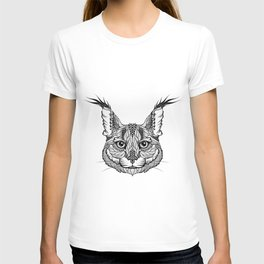 CARACAL / LYNX head. psychedelic / zentangle style T-shirt