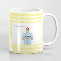the life aquatic Mugs featuring The life aquatic by Little cabin on the hill