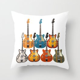 Hollow Body Guitars Throw Pillow