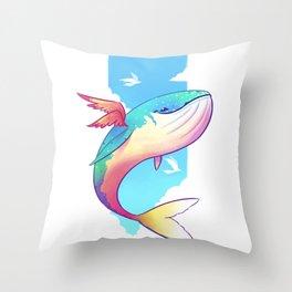 The Sky Whale Throw Pillow