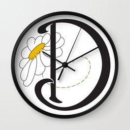Ruby's Flower Initials - D Wall Clock