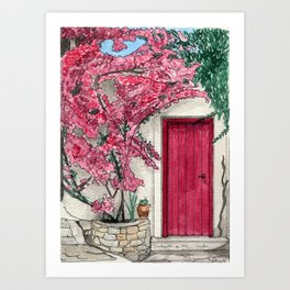 Little Pink Door surrounded by a Pink Bougainvillea Art Print