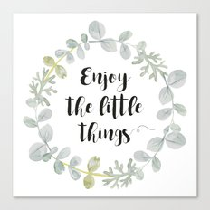 Wreath Enjoy the little things Canvas Print