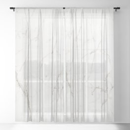 White marble tiles rock stone statues Sheer Curtain