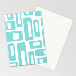 Retro Mid Century Modern Abstract Pattern 731 Turquoise Stationery Cards