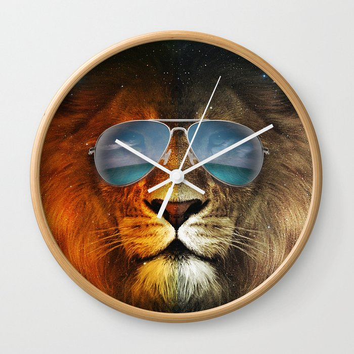 Cool Lion Face Wall Clock By Monochromatic Society6