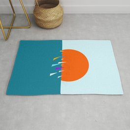 Minimal regatta in the sun Rug